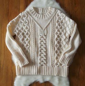 H&M Oversized Embellished Rib Knit Chunky Sweater